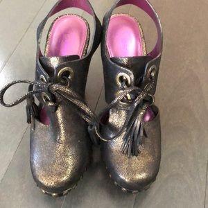 Coach clog like heels metallic